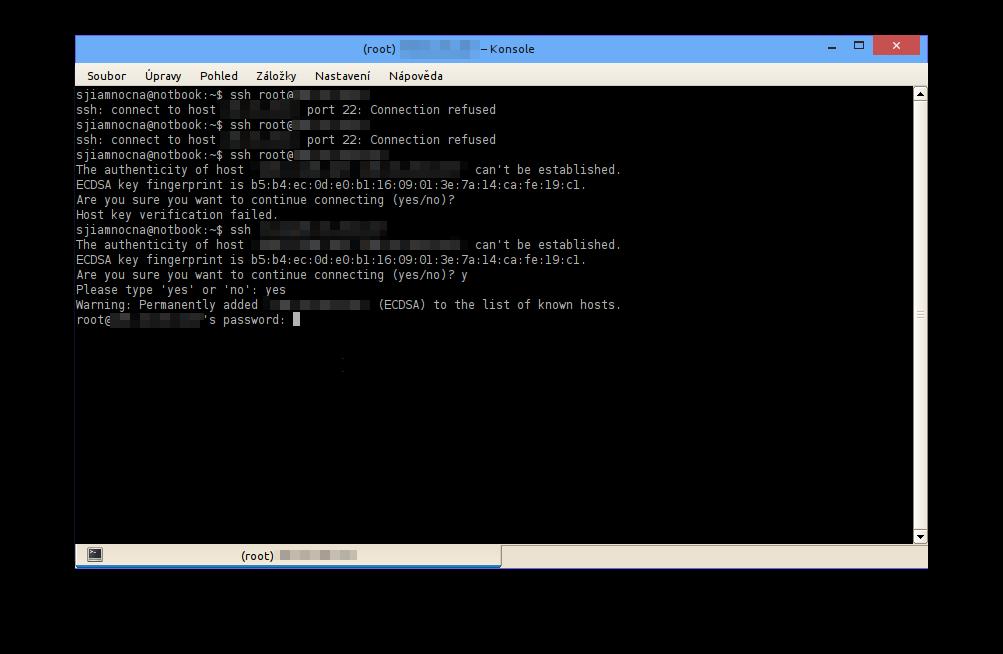 První věc je přihlášení přes SSH nebo podobný protokol k serveru. Budete potřebovat uživatelské jméno a IP adresu serveru.
