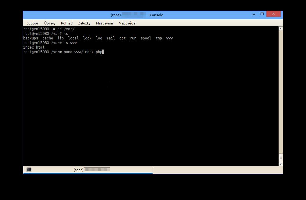 Teď upravíme, resp. vytvoříme soubor index.php, abychom otestovali, jak funguje námi nainstalované PHP. V adresáři /var/www do souboru index.php uložíme